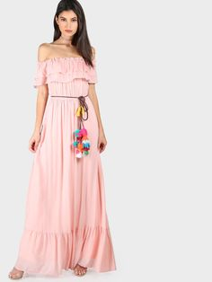 SheIn - SheIn Frill Off Shoulder Tiered Hem Pom Pom Belt Dress - AdoreWe.com