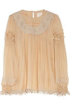 Anna Sui  Lace-trimmed printed silk-chiffon blouse  Was $460   Now $276