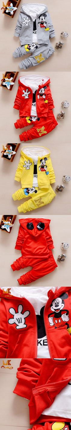 Monkids Hot Sale! 2016 Fashion Cartoon Cat Kids Clothes Boys Girls Clothing Sets Kids Clothes Jacket Coat+Trousers 3 Piece Suit