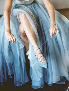 While many brides choose to wear a white wedding dress and matching shoes, there's no rule against wearing color. This bride donned a Leanne Marshall and suede Valentino lace-ups to match, which surely brought her plenty of luck on the big day.