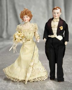 Two German bisque dollhouse dolls as bride and groom. $600/900