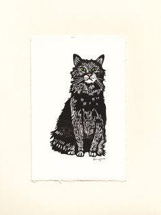 Scruffy Black Cat Linoprint by LaurajeanLaurajean on Etsy, $20.00