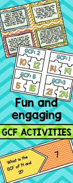 Fun and engaging GCF activities to reach all learners. Stations, games and task cards!