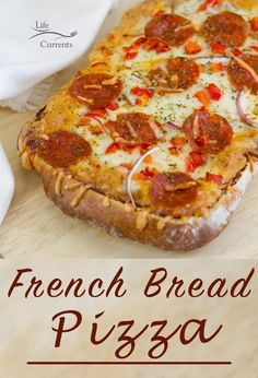 French Bread Pizza is a great weeknight recipe that's easy, delicious, and quick to make. Your family will love you for this great meal Popular Recipes, Great Recipes, Favorite Recipes, Amazing Recipes, Fall Recipes, Delicious Recipes, Easy Family Meals, Easy Meals, Freezer Meals