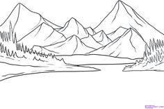 drawing lake step mountain ground outline scenery landscape easy simple draw pencil drawings sketch nature dragoart