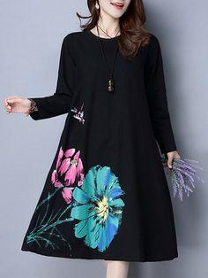 Casual Women Long Sleeve Floral Printed Pure Color Vintage Dress - Banggood Mobile