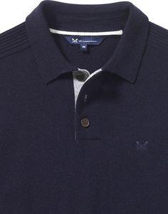 Men's Merino Knitted Polo in Dark Navy from Crew Clothing