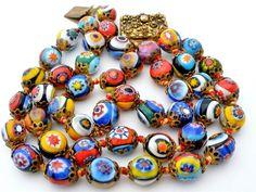 Venetian Millefiori Mosaic Art Glass 3 Strand Bead Hand Knotted Bracelet Vintage   eBay