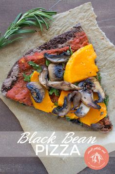 Black Bean Crust Pizza topped with Butternut Squash, Shiitake Mushrooms, and Baby Spinach!