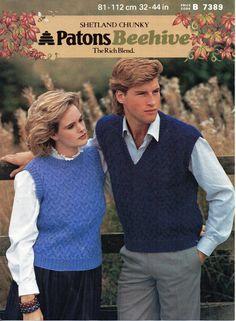 Womens Chunky Slipover Mens Chunky Slipover Round Neck Slipover Knitting Pattern…