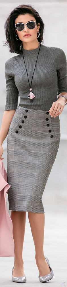 @roressclothes clothing ideas #women fashion gray sweater, midi skirt Madeleine Fall 2017