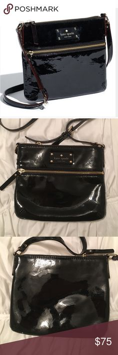 Kate Spade Patent Leather Crossbody Gently used, overall great condition! Open to offers 🙂 kate spade Bags Crossbody Bags