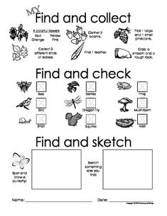 Find and Collect, Check and Sketch! - Nature Scavenger Hunt My Find and Collect, Check and Sketch! - Nature Scavenger Hunt - Courtney McKerley - My Find and Collect, Check and Sketch! Outdoor Scavenger Hunts, Nature Scavenger Hunts, Scavenger Hunt For Kids, Nature Activities, Camping Activities, Activities For Kids, Camping Games For Kids, Boy Scout Camping, Nature Hunt
