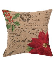 Another great find on #zulily! Burlap Pointsettia Pillow #zulilyfinds