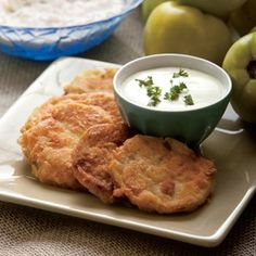 This classic Southern recipe of fried green tomatoes can be served as a starter or a side dish.