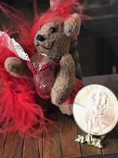 Vintage Miniature Dollhouse Artisan Made Valentines Day Bear Sexy Corset Garter