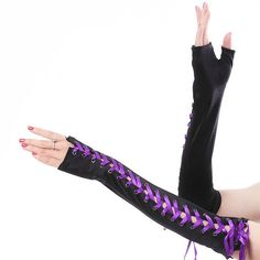 lace-up fingerless long gloves ($9.18) ❤ liked on Polyvore featuring accessories, gloves, purple, fingerless gloves, purple gloves, satin gloves, purple satin gloves and fingerless opera gloves