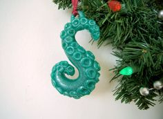 Pearl Green Cthulhu Tentacle Ornament by SteamWolf on Etsy, $10.00