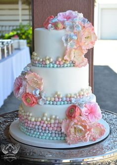 Pastel Colored Pearls Wedding Cake