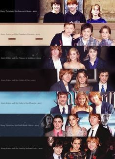 Time flies - Harry Potter - I like this sequence, cos it looks like Daniel Radcliffe is shrinking, haha - Fans D'harry Potter, Theme Harry Potter, Harry Potter Cast, Harry Potter Fandom, Harry Potter World, Harry Potter Memes, Harry Et Ginny, Ron Y Hermione, Daniel Radcliffe