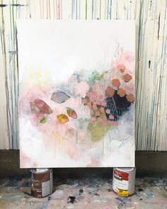 In process. 🍃 (snow day # 3 🤦🏻♀️) Abstract Flowers, Abstract Watercolor, Abstract Art, Painting Inspiration, Art Inspo, Fantastic Art, Art Techniques, Canvas Wall Art, Modern Art