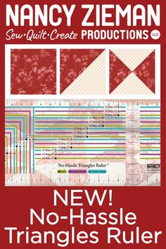 Quilting Patterns, Quilt Pattern, Triangle Square, Nancy Zieman, Straight Stitch, Fabric Strips, Queen Quilt, Chrochet, Square Quilt