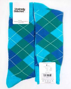 Various Blues Argyle Mens Dress Sock - Unsimply Stitched