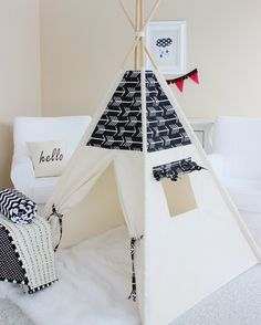 Arrows Bekko Natural Canvas Play Tent Teepee by AshleyGabby Teepee Diy, Teepee Play Tent, Teepees, Girls Teepee, Teepee Party, Canvas Teepee, Kids Tents, Handmade Christmas Gifts, Handmade Gifts