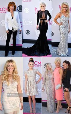 Female Fashion Montage at the 52nd Academy Of Country Music Awards at Toshiba Plaza on April 2, 2017 in Las Vegas, Nevada | TOP (L-R): Reba McEntire, Savannah Chrisley (Tranchi), Savvy Shields (Sherri Hill) BOTTOM (L-R): Stephanie Qualye (Hayley Paige), Tegan Marie (Alice and Olivia), The Wives of Rascal Flatts