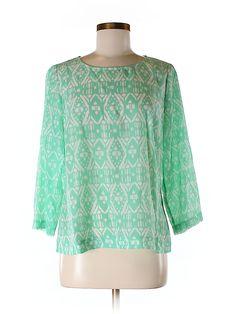 jcrew factory mint print blouse - $14