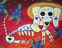 Wallpaper : Print Art Of Day Of The Dead Weiner Dog