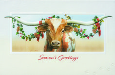 """LONGHORN This steer is looking sharp for the holidays! """"Season's Greetings"""" appears in red foil below the image, which is wrapped in an embossed frame. These cards are made from paper produced by paper mills that practice responsible forestry methods and are made from paper that contains up to 100% post-consumer fibers. - See more at: http://greetingcardcollection.com/products/holiday-cards-texas-western/613-longhorn#sthash.v3QEqdld.dpuf"""