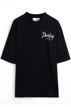 Black 1/2 Sleeve Darling Print T-Shirt