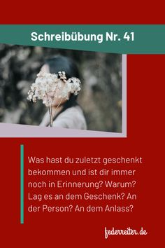 Schreibübung Nr. 41: Was hast du zuletzt geschenkt bekommen und ist dir immer noch in Erinnerung? Warum? Lag es an dem Geschenk? An der Person? An dem Anlass? +++++++++ writing prompt: What was the last thing you received and is still in your memory? Why? Was it the gift? Or the person? Or the occasion? #Schreibübung #Schreibidee #writingpromt #Schreibimpuls Prompts, Memories, Writing, Gift, Night, Creative Writing Exercises, Souvenirs, Composition, Presents