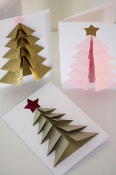 Vill du imponera på de du ska skicka j. Diy 3d Christmas Tree, Christmas Card Crafts, Christmas Origami, Homemade Christmas Cards, Christmas Photo Cards, Handmade Christmas, Christmas Decorations, Christmas Ornaments, Christmas Lights