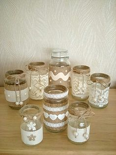 Rustic/vintage/classic farmhouse wedding mason jar designs for Isle walkways/decoration or center pieces/receptions and parties forany theme Burlap Mason Jars, Mason Jar Crafts, Mason Jar Diy, Mason Jar Lace, Lace Jars, Burlap Crafts, Diy Home Crafts, Diy Bottle, Bottle Crafts