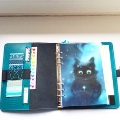 Dashboard an stationery stuff in my Filofax Original A5 Dark Aqua <3 love it!
