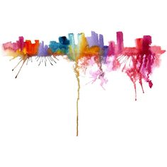 Miami Travel Illustration - Abstract Art Print 13X19 ($45) ❤ liked on Polyvore featuring home, home decor, wall art, backgrounds, fillers, effects, decoration, art, doodle and splashes