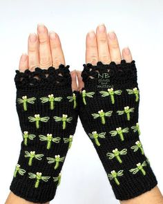 Knit Fingerless Gloves Green Dragonfly Black Embroidered