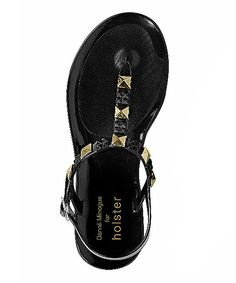 This Black & Gold Rockstar Sandal by holster is perfect! #zulilyfinds