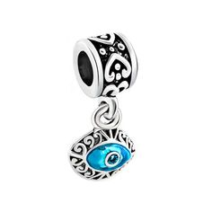 Magical Protection Fits all Designer and European Charm Bracelets* Blue Evil Eye Charm Round Charm With Clear and Blue Rhinestones Crystals