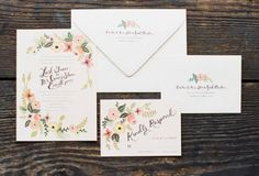 Whimsical wedding invitation suite. Photo by Adam Barnes, invitations by Rifle Paper Co.