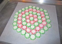 Mint Candy Tray. Turn mints into a serving tray! Just arrange on a cookie sheet lined with parchment paper, and bake at 350 for 8-10 minutes. Then let completely cool at room temperature. After your party, break and keep in a candy jar! Great idea for a plate of cookies you don't have to get back. for delivering Christmas cookies? So doing this next Christmas!!