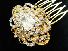 Vichy Gold Vintage Style Lace and Crystals Hair Comb