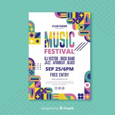 Colourful geometric music poster templat...   Free Vector #Freepik #freevector #freeposter #freemusic #freeparty #freetemplate Geometric Graphic Design, Geometric Poster, Graphic Design Layouts, Graphic Design Posters, Graphic Design Typography, Graphic Design Inspiration, Layout Design, Mises En Page Design Graphique, Posters Conception Graphique