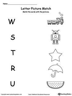 **FREE** Uppercase Beginning Letter Sound: W S T R U Worksheet.Encourage your child to learn letter sounds by practicing saying the name of the picture and connecting with the correct letter in this printable worksheet. Worksheet For Nursery Class, Nursery Worksheets, Printable Preschool Worksheets, Phonics Worksheets, Preschool Learning Activities, Letter W Worksheets, Grade R Worksheets, Matching Worksheets, Printable Alphabet