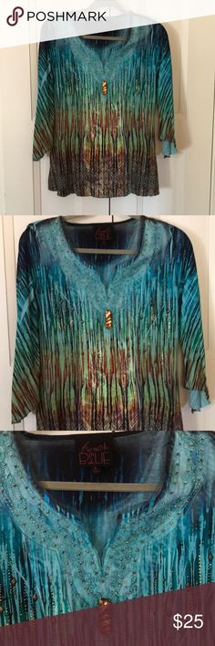 French BLUE blue bronze print embellished top S French BLUE blue bronze print embellished top S in perfect NWOT condition really gorgeous & unique & stunning in person. Ask any questions or make an offer! french blue Tops Blouses