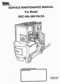 Original Illustrated Factory Workshop Manual for Yale Sit Down Rider ERC.Original factory manuals for Yale Forklift Trucks, contains high quality images, circuit diagrams and instructions to help you to operate and repair your truck. All Manuals Printable and contains Searchable TextCovered models:0