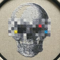 A very detailed design of a human skull with pixelated eyes. 8 shades of grey make the skull look very realistic. Color codes for DMC and ANCHOR are included in the pattern! The design is stitched 2 over on 18 count FLOBA from Zweigart. Cross Stitch Skull, Spooky Halloween Decorations, Color Codes, Human Skull, Modern Cross Stitch Patterns, German Language, Stitch 2, Fiber Art, Fabric Design