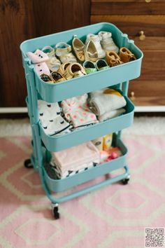"Ikea Hacks ..A great use for the ""Raskog"" cart…..I Would prefer it under the diaper changing table .FULL of Diapers !!"